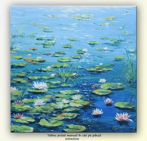 poza Nuferi - pictura ulei pe panza 60x60cm, repro Claude Monet