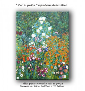 poza Flori in gradina - 90x70cm - repro Gustav Klimt - La comanda