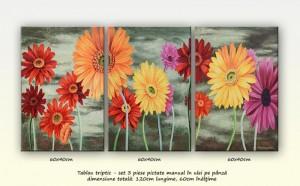 poza Pictura cu gerbera - tablou triptic ulei pe panza - 3 piese 60x40cm
