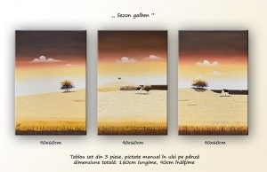 poza Tablouri living, dormitor - Sezon galben - tablou triptic 180x90cm