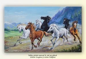 poza Tablou cai in galop - LIBERTATE (3) - ulei pe panza, 100x60cm, Superb!