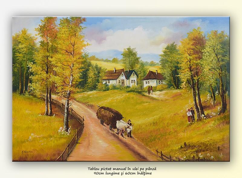 De la camp (1) - tablou ulei pe panza 90x60cm