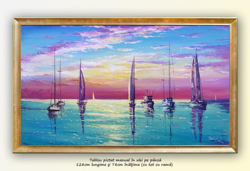 Calm - tablou peisaj marin, ulei pe panza cu rama 128x78cm, Superb!