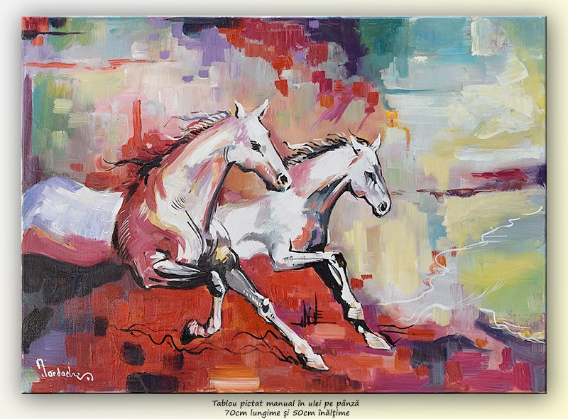 Cai in galop, stilizat (2) - pictura ulei pe panza 70x50cm, Magistral!