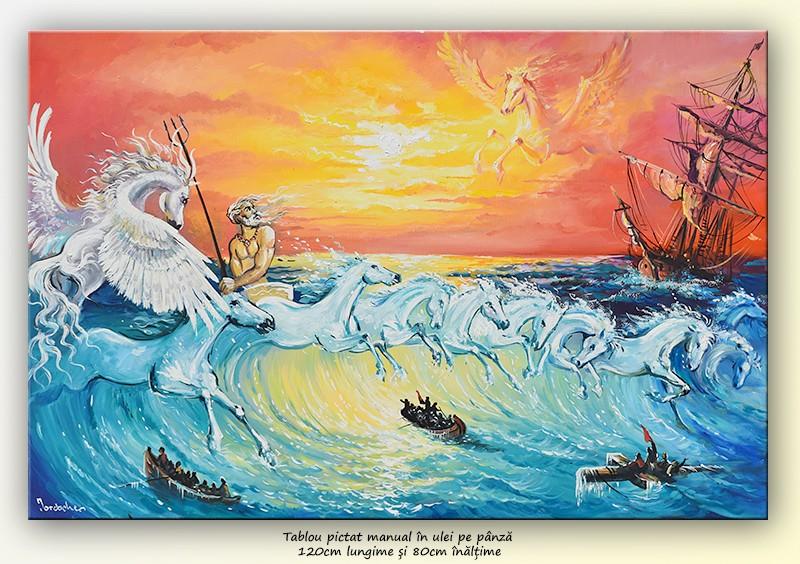 Caii lui Neptun - pictura ulei pe panza de in 120x80cm, Senzatie!@