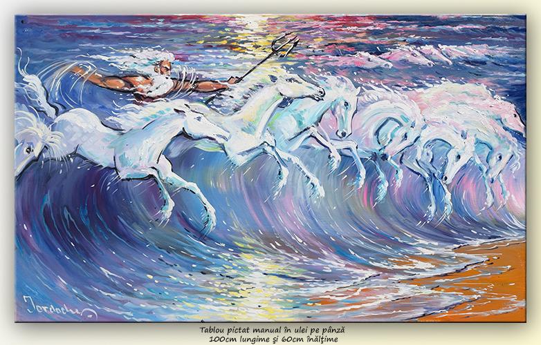 Caii lui Neptun (3) - pictura ulei pe panza de in 100x60cm, Magnific!