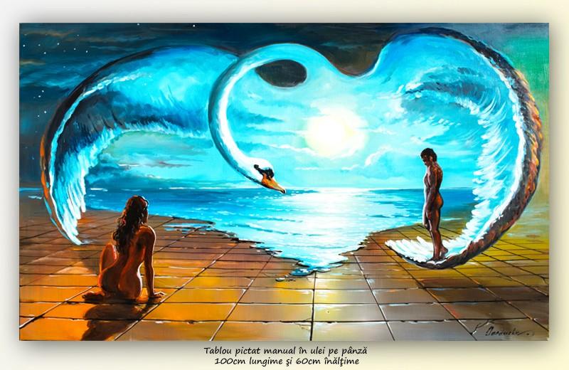 Pe aripile iubirii - pictura ulei pe panza 100x60cm, Superb