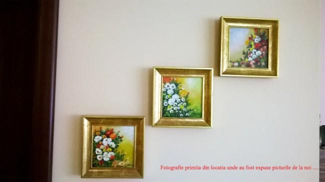 tablouri flori cu rama - expuse la client acasa