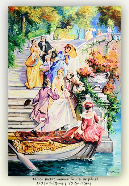 Petrecere la palat - 120x80cm pictura ulei pe panza