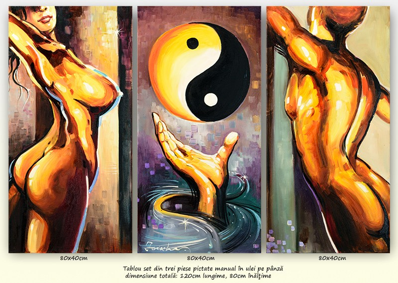 Yin si Yang (1) - tablou inspirational 3 piese ulei pe panza 120x80cm