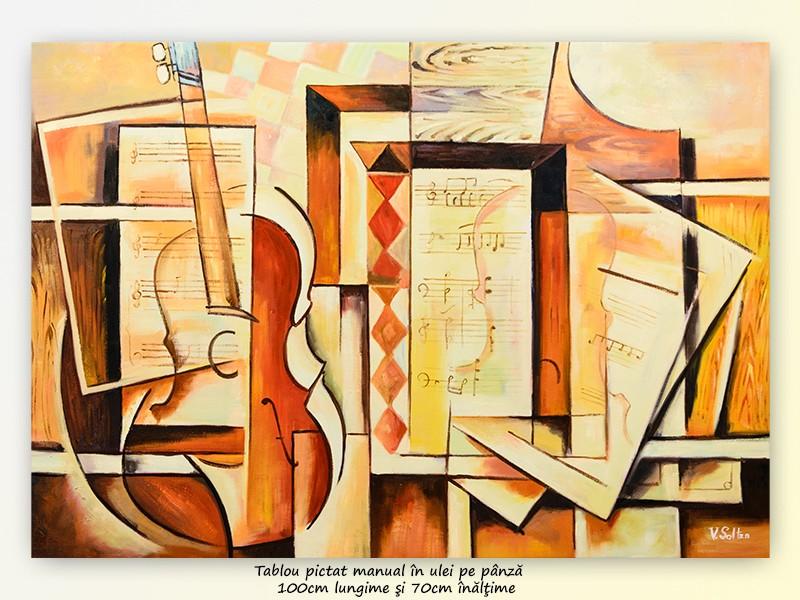 Muzica pura - pictura cubism sintetic, ulei pe panza 100x70cm