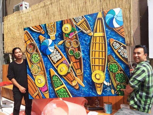 tablou pictat la comanda 150x100cm pentru restaurant asiatic in Bucuresti
