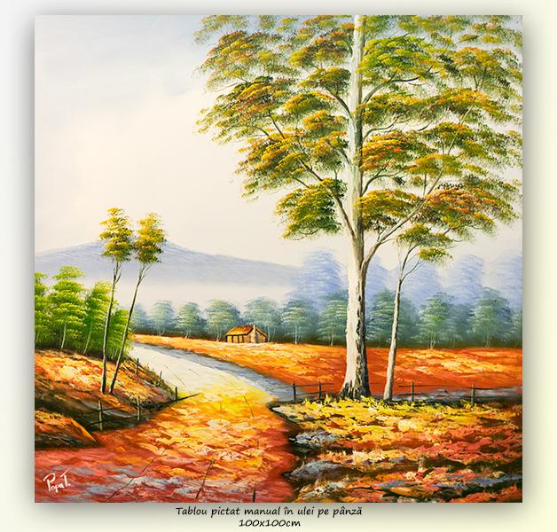 Peisaj clasic (1) - 100x100cm ulei pe panza, Superb!