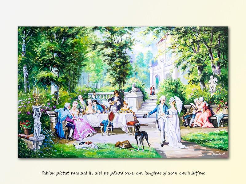 Tablou GIGANT - Petrecere la palat - 206x129 cm pictura ulei pe panza, MAGISTRAL