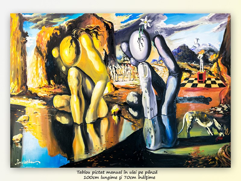 Metamorfoza lui Narcis - ulei pe panza de in 100x70cm, repro Salvador Dali