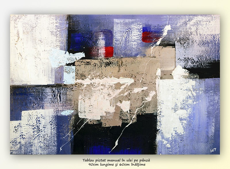 Improvizatie (3) - tabloul abstract office 90x60cm
