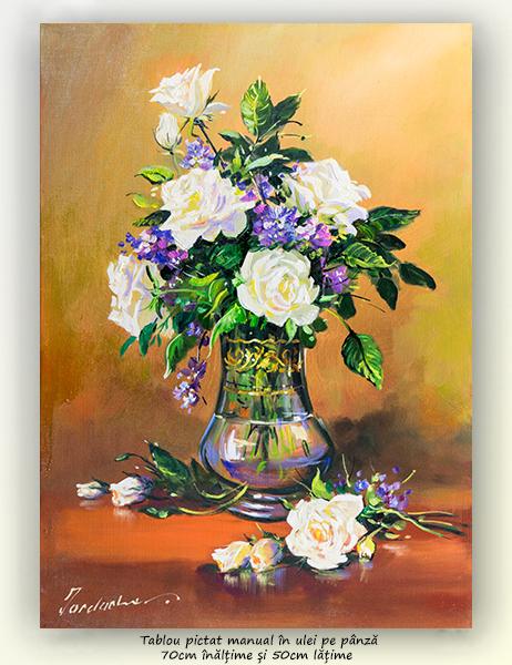 Eleganta in alb - 70x50cm pictura ulei pe panza, Magistral