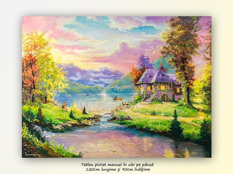 Tablou GIGANT living, dormitor - La casa de langa lac - 120x90cm ulei pe panza, Magnific!