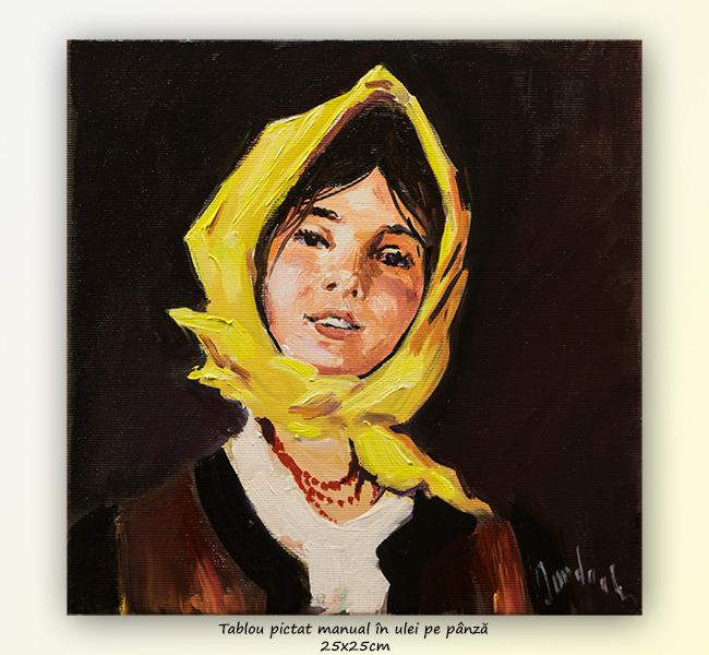 Țărăncuță cu basma galbenă - 25x25cm ulei pe panza, repro N. Grigorescu