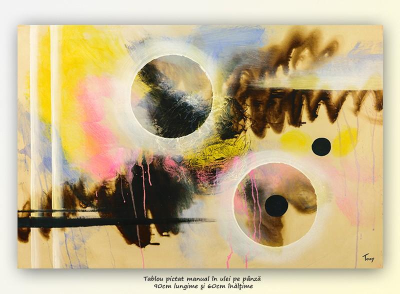 Pictura abstracta - Lumi paralele (1) - ulei pe panza 90x60cm