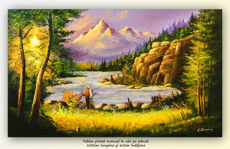 Peisaj montan cu pescar - pictura 100x60cm ulei pe panza, Magnific!
