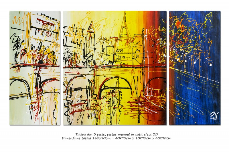 Peisaj citadin modern 3 piese - La Paris - 160x90cm ulei pe panza, Spectaculos!