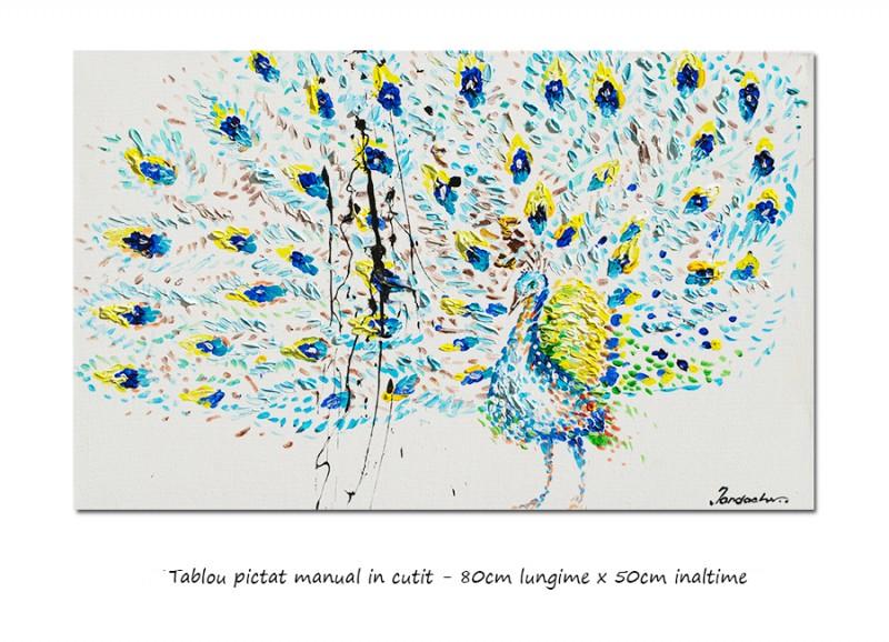 Tablou modern - Paun, stilizat - 80x50cm ulei pe panza in cutit efect 3D, Spectaculos!