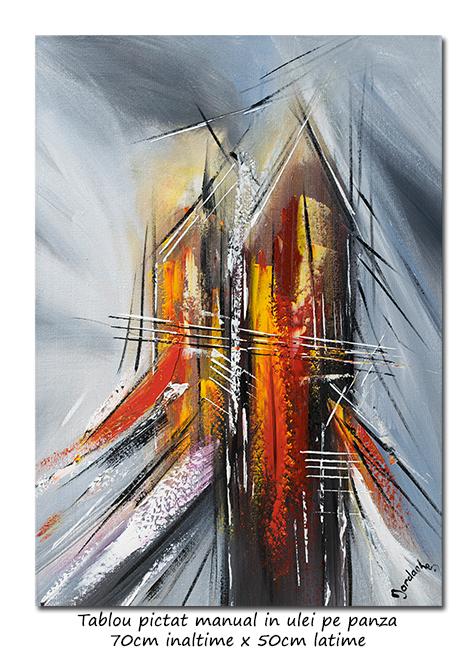 Calatorie in spatiu (10) - 70x50cm tablou abstract ulei pe panza, Spectaculos!
