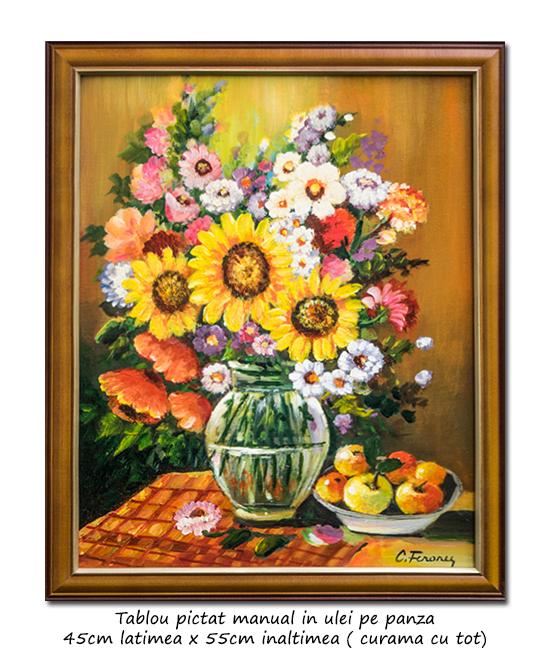 Aranjament cu floarea soarelui, maci, margarete si mere - 55x45cm cu rama, ulei pe panza, Magnific!