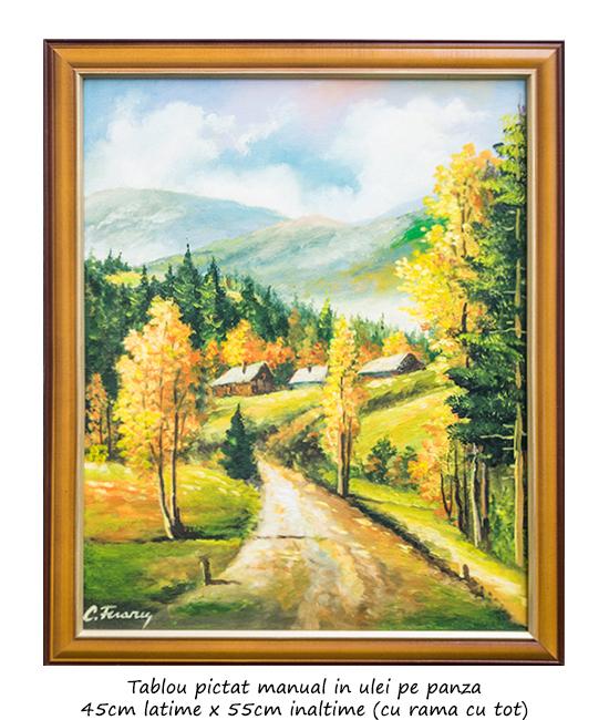 Plaiuri mioritice - 55x45cm cu rama, pictura ulei pe panza, Superb@