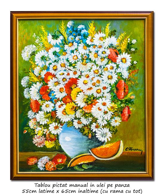 Ulcica cu margarete si maci - 65x55cm cu rama, pictura ulei pe panza, Magistral!