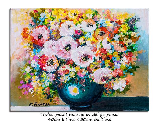 Fantezie florala (3) - 40x30cm pictura ulei pe panza, Magnific!