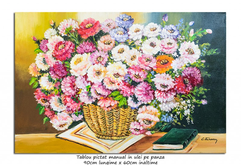 Tablou living - Poezie florala (3) - 90x60cm ulei pe panza, Superb