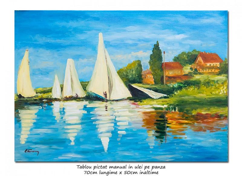 Regatta at Argenteuil  - 70x50cm, ulei pe panza, repro Claude Monet