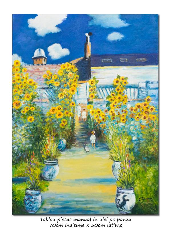 Gradina artistului de la Vetheuil - 70x50cm ulei pe panza, repro Claude Monet