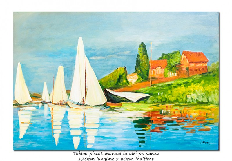 Tablou GIGANT living - Regatta at Argenteuil - 120x80cm ulei pe panza, repro Claude Monet
