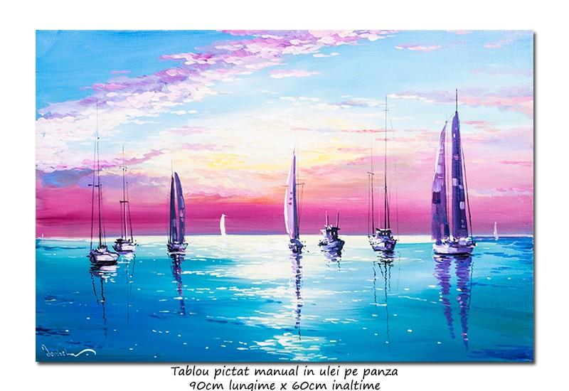 Calm - 90x60cm tablou peisaj marin ulei pe panza , Superb!