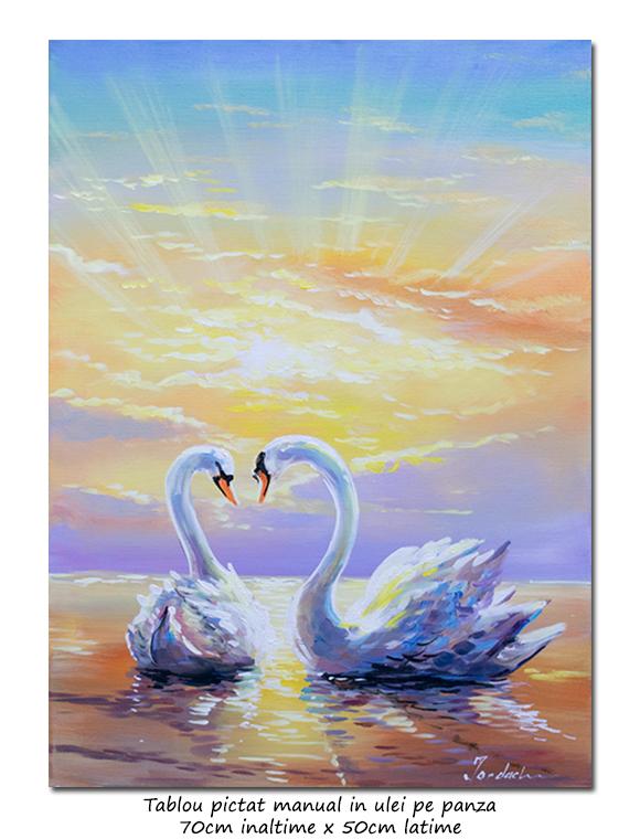 Lebede in razele soarelui - 70x50cm pictura ulei pe panza, Superb!