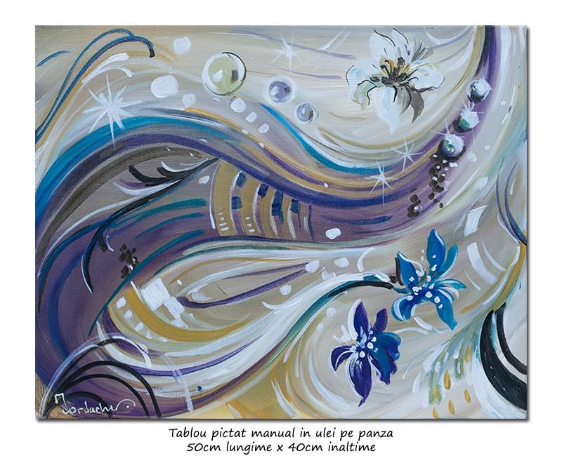 Magnolii deco - 50x40cm tablou modern ulei pe panza, Superb!
