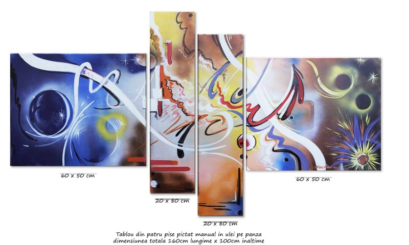 Tablou abstract 4 piese - Confluente - ulei pe panza 160x80cm, Magistral