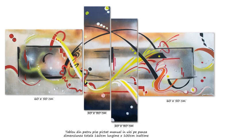 Tablou abstract 4 piese - Stargate - ulei pe panza 160x80cm, Magistral