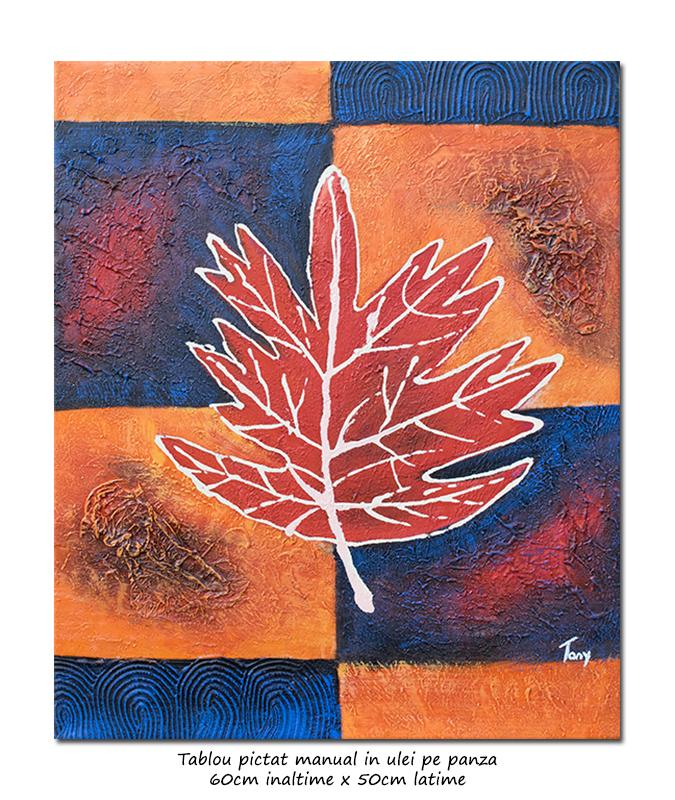 Tablou modern abstract - Frunza (1) - 60x50cm ulei panza in relief, Superb!