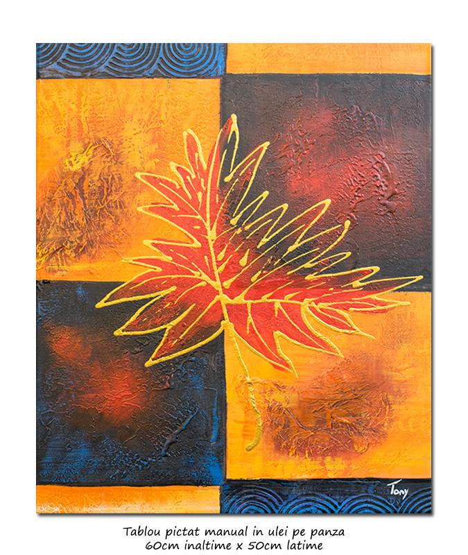 Tablou modern abstract - Frunza - 60x50cm ulei panza in relief, Superb!