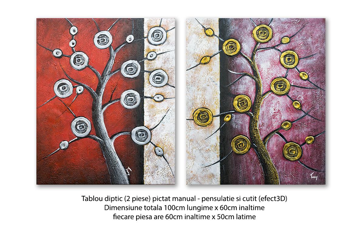 Tablou 2 piese modern - Copaci Deco (1) - 100x60cm in relief efect 3D, Superb!
