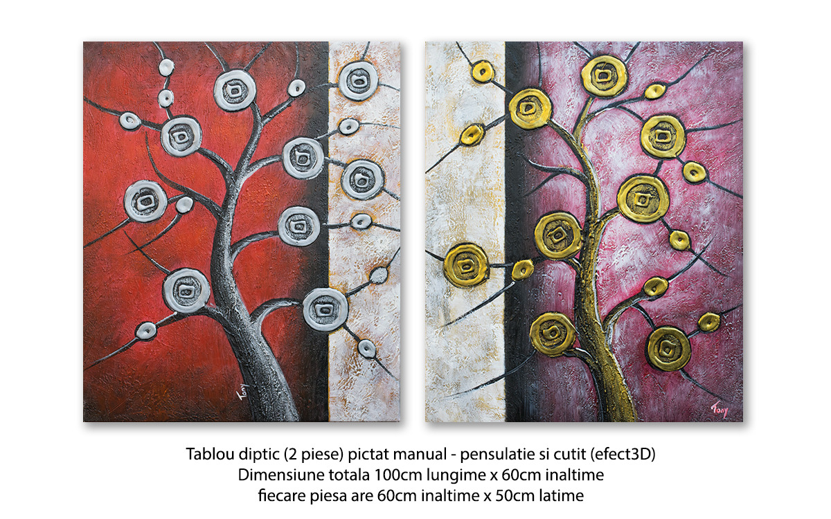Tablou 2 piese modern - Copaci Deco (3) - 100x60cm in relief efect 3D, Superb!
