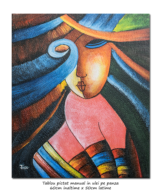 Another woman_s face (3) - tablou cubist ulei pe panza 60x50cm, superb!