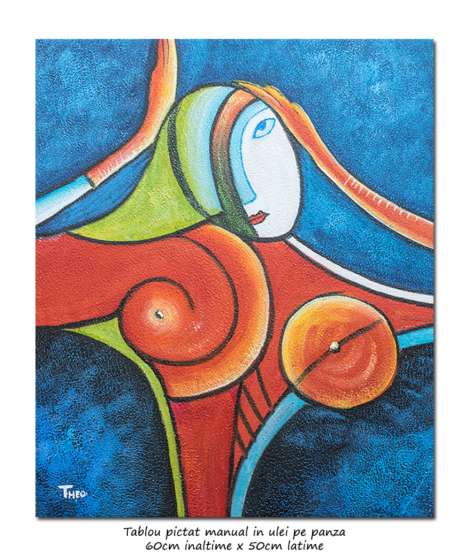 Another woman_s face (6) - tablou cubist ulei pe panza 60x50cm, superb