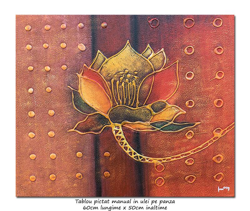 Floare moderna abstracta (2) - ulei pe panza, 60x50cm, efect 3D, Superb!