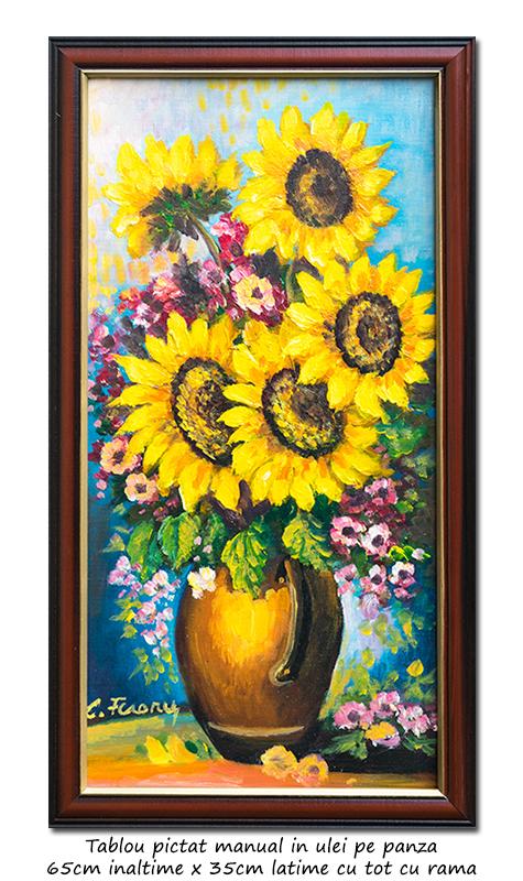 Ulcica cu floarea soarelui - 65x35cm cu rama, ulei pe panza, Superb!