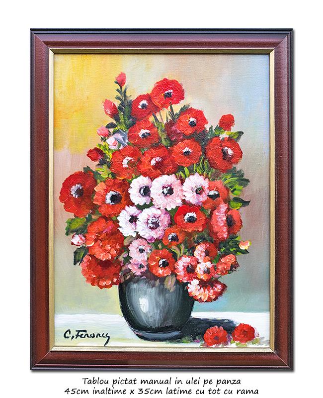 Vaza cu maci - 45x35cm tablou floral inramat, ulei pe panza, Superb!